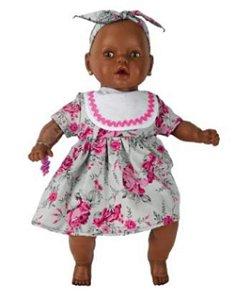 Boneca Negra Meu Nenezinho Vestido Rosa Cheirinho Estrela