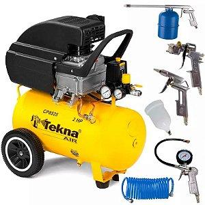 Compressor de Ar 2,0 HP 24 Litros 8,5 PÉS CP8525 TEKNA com Kit Multiuso