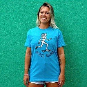Camiseta Unissex SkateMania em Algodão Azul Turquesa