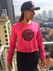 Moletom Cropped SkateMania 70s Rosa Pink