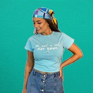 Camiseta Feminina Estonada Azul DE SAL E SOL EU SOU