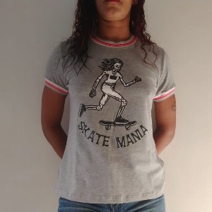 Camiseta Ring Tee SkateMania Cinza Mescla