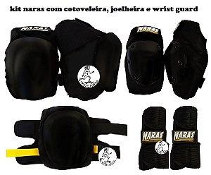 Kit de Proteção Profisisonal Naras com Joelheira, Cotoveleira e Wrist Guard