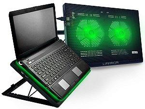 Cooler Para Notebook Warrior Power Gamer Led Verde AC267