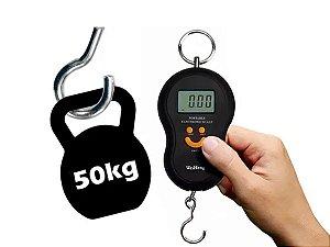 Balança Digital Portátil Manual Peixe Até 50kg Preto
