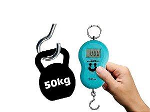 Balança Digital Portátil Manual Bolsa Mala Peixe Até 50kg Azul