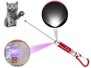 Laser Pointer Vermelho 3 Em 1 Chaveiro Lanterna Gato Brincar