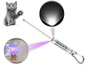 Kit 5 Laser Pointer Vermelho 3 Em 1 Chaveiro Lanterna Gato