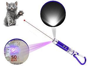 Kit 3 Laser Pointer Vermelho 3 Em 1 Chaveiro Lanterna Gato