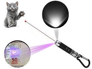 Kit 4 Laser Pointer Vermelho 3 Em 1 Chaveiro Lanterna Gato