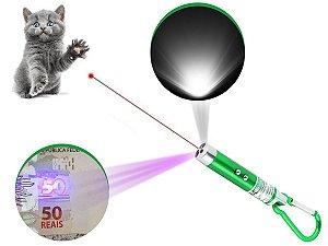 Kit 2 Laser Pointer Vermelho 3 Em 1 Chaveiro Lanterna Gato
