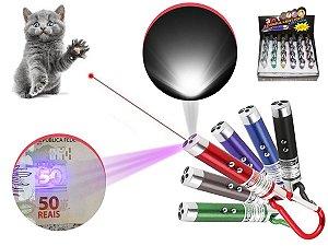 Kit 24 Laser Pointer Vermelho 3 Em 1 Lanterna Gato Brincar