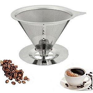 Filtro Coador de Café Reutilizável Aço Inox 101 Pequeno