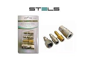 Jogo Conectores Engate Rápido E Rosca 1/4 P/compressor Stels