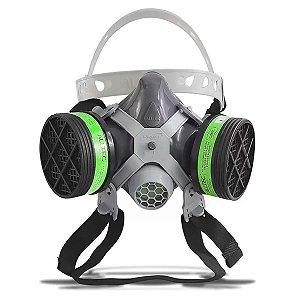 Máscara Respirador Facial 2 Filtro Pesticida Solvente Alltec