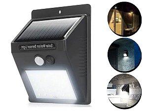 Luminária Solar Parede 40 Led Sensor Presença Com 2 Funções