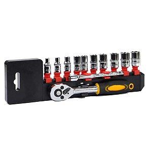 Chave Catraca c/ Conjunto de Soquetes 4-13mm 12 Peças