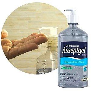 Álcool Gel Antisséptico Asseptgel 420g Válvula Bico