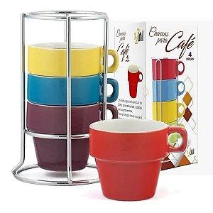 Conjunto 4 Xícaras Cafezinho Colorida Porcelana Suporte Inox