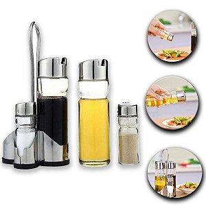 Conjunto Galheteiro De Vidro 4 Pçs Tampas Cromadas Azeite Vinagre Sal