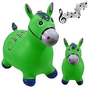 Cavalinho Musical Borracha Upa Upa Brinquedo Verde
