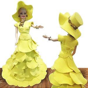 Boneca Princesa Enfeitada Personalizada Vestido E Colar