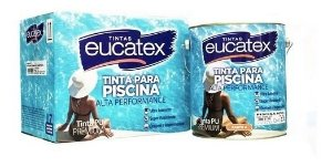 Tinta Para Piscina Azul Pu Kit Eucatex 4,5 Litros