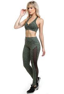 Conjunto Fitness top sem bojo e calça com tela verde