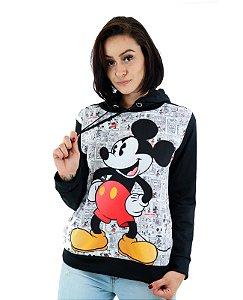 Blusa de Frio Feminina com Capuz Mickey Quadrinhos