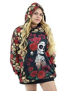 Blusão Vestido de Inverno com Touca Catrina e Rosas