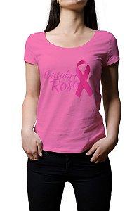 Camiseta Outubro Rosa Fita Feminina Baby Look