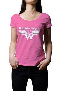 Camiseta Outubro Rosa Mulher Maravilha Baby Look
