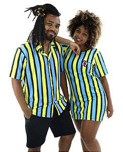 Kit Mozão Listrado Amarelo e Azul | Vestido + Camisa