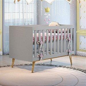 Berço Mini Cama Ludmila Cinza Carolina Baby