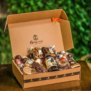 Cesta  com 1 cerveja artesanal + chocolates refinados Kemper's Haus