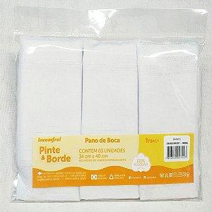 Pano de Boca Incomfral Pinte e Borde 3 unidades 34 cm x 40 cm Branco 100% Algodão