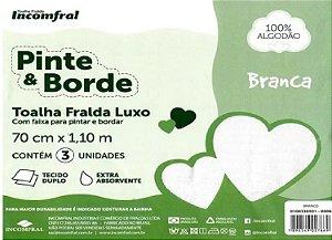 Toalha Fralda Luxo Incomfral 70 cm x 1,10 m 3 unidades branca 100% Algodão