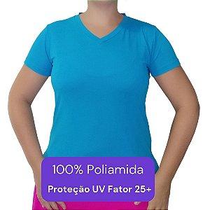 Camiseta Feminina - Modelo Lisa cor Azul Turquesa