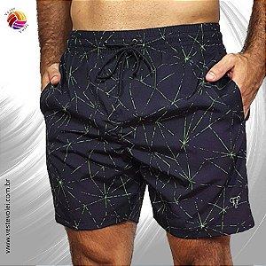 Short Masculino de Elastano Sublimado com 3 Bolsos - Modelo Triangulo Neon - cor Preta