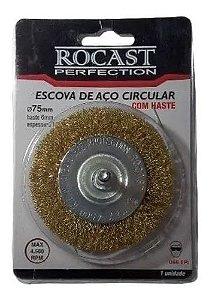 ESCOVA DE ACO CIRCULAR C/HASTE LATONADA 75 X 10 3190008 ROCAST