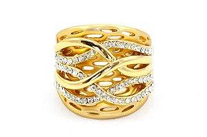 Anel dourado trançado com strass