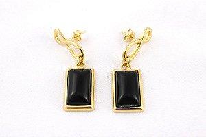 Brinco Dourado com Obsidiana Negra Retangular