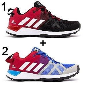 Kit 2 Tênis Adidas Kanadia Tr8 Preto Vermelho + Azul Vermelho