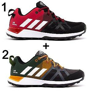 Kit 2 Tênis Adidas Kanadia Tr8 Preto Vermelho + Verde Laranja