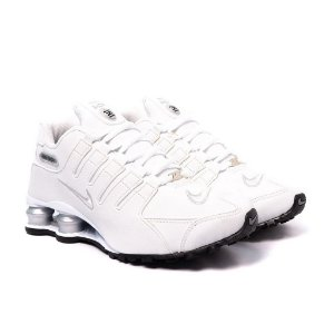 Tênis Feminino Nike Shox NZ Branco e Prata