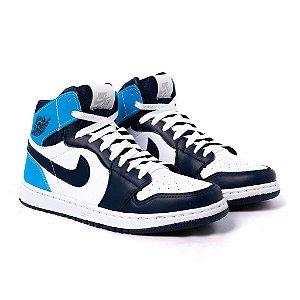 Tênis Nike Air Jordan 1 MID Branco  e Marinho