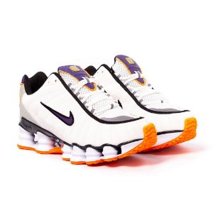 Tênis Nike Shox TLX 12 Molas Refletivo Premium Branco  e Laranja