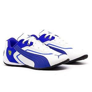 Tênis Puma Ferrari New Branco e Azul