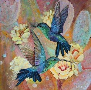 """""""Beija-flores e Cactus""""- Pintura original ao óleo sobre tela 50x50 cm"""