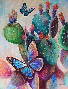 """""""Borboletas e Cactus""""- Pintura original ao óleo sobre tela 90x70 cm"""
